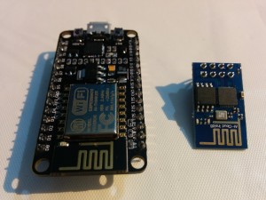 ESP8266 standalone chip (right) and ESP8266 Development Board (left)